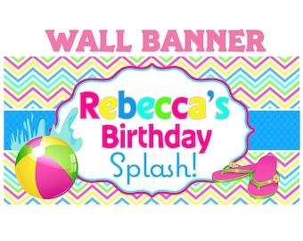 Rainbow Pool Party Banner ~ Personalized Party Banners Indoor or Outdoor Swimming Party, Summer Birthday Banner, Printed Banner