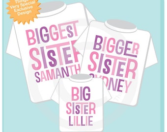Set of Three, Biggest Sister, Bigger Sister Shirt, and Big Sister Shirt or Onesie Set, Personalized Pregnancy Announcement 07232013a