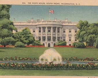 The White House South Front Washington D. C.  Vintage Postcard dc242