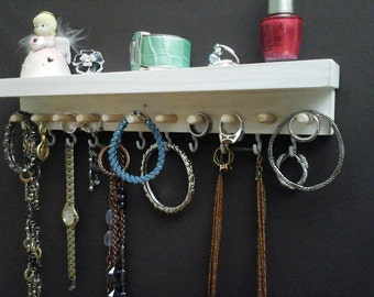Jewelry Organizer Wall Ring Holder, Necklace Hanger, Earring Holder, Bracelet Holder. Wall Mount Closet Jewelry Organizer Storage with Shelf
