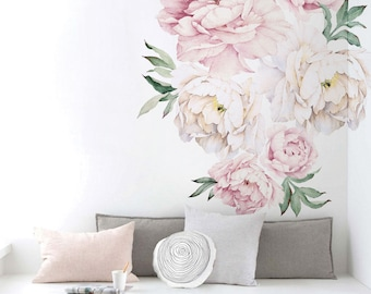 Peony Flowers Wall Sticker, Vintage Watercolor Peony Wall Stickers - Peel and Stick Removable Stickers