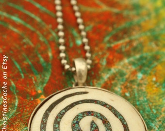 One Left - Closeout SALE Bone Spiral Pendant in Silver Bezel  - Symbol of the life force energy -Primitive Tribal Pagan Jewelry 1-SS-L***