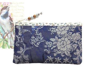 Makeup case, multipurpose, blue jeans, floral