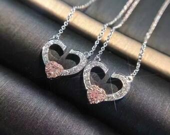 Rosa Diamant Herz Form Halskette