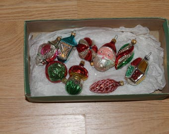 1980 vintage Christmas set of nine ornament blown glass and hand painted sold at Kaufman's