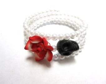 Day of the Dead Bracelet Sugar Skull Jewelry Wrap Cuff Black White Red