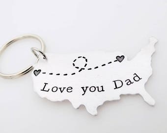 Long distance Family - Miss you dad - Going away gift, living abroad, going away to college, LDR family, custom USA map keychain for him