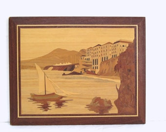 Vintage Marquetry Picture, Western France Coastal Scene