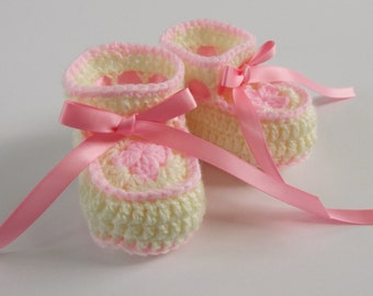 Crochet Baby Booties Girls, Baby Girl Shoes, 3 Month Crochet Booties