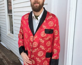 60s Mens Red Smoking Jacket Asian Dragon Robe Lounge Squirrel L XL