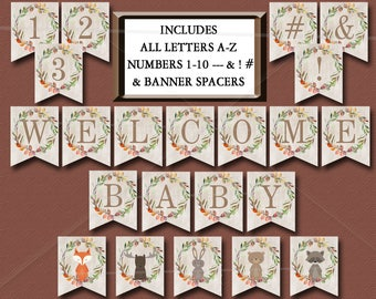 Woodland Baby Shower Banner, Printable Includes ALL LETTERS A-Z, Numbers 0-9, Spacers & symbols Decorations Birthday Instant Download - 016