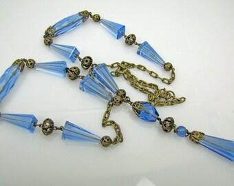 Czech Art Deco Necklace. Filigree Blue Topaz Crystal Pendant Sautoir  Great Gatsby Flapper Long Necklace. 1920s Antique Art Deco Jewelry