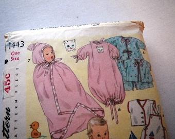 1950s Infant Layette Set Pattern Uncut Simplicity 1443