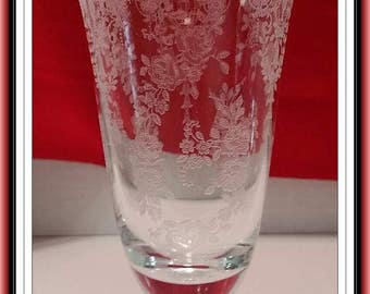Vintage Tiffin Cherokee Rose  Floral Etched Iced Tea Glass