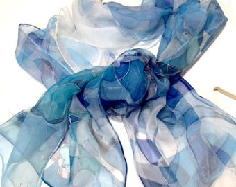 Hand painted blue silk scarf- Blue Wind- chiffon silk scarf, line drawing abstract linear pattern, some floral motifs,fashionable blue color