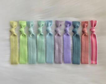 Set of 10 spring colors elastic hair ties No Crease Ponytails hair accessories