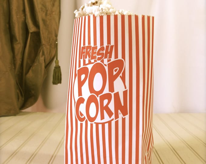 Retro Striped Popcorn Party Bags, Paper, Gusseted, Carnival, Circus Themed Kids Party - set of 10