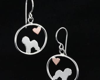 Bichon Frise Dangle Earrings with Heart