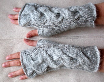 Fingerless Gloves Arm Warmers Light Grey Dove Mittens Knit, Soft Acrylic Mohair