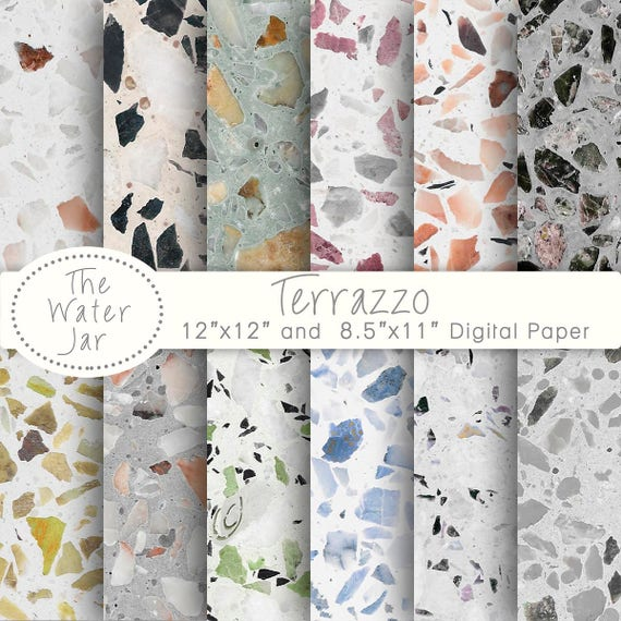 Terrazzo Digital Paper Patterns For Wallpaper Or Backgrounds Texture Design Resource Colored Stone Tile From TheWaterJar On