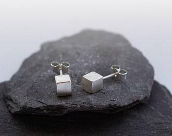 Sterling Silver Solid Cube Earrings ~ earrings, silver,birthdays, silver earrings, studs, modern, minimal, cube, geometric