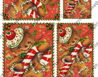 Vintage Retro Gingerbread men man cookies candy cane red focal Printable Digital Collage Sheet ATC Card Fronts Jewelry clip art Christmas