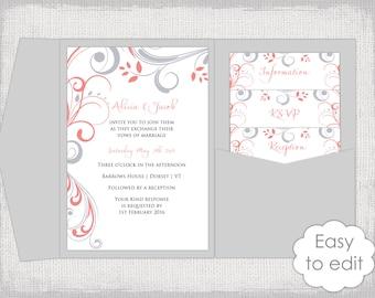 Pocket Wedding Invitation Template DIY Pocketfold Wedding - Wedding invitation templates: pocket wedding invitation template
