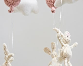 Baby Mobile, Baby Mobiles, Cloud Mobile, Bunny Mobile, White Pink Mobile, Hanging Mobile, Animal Mobile, Traveler Decor, Bunny Baby Mobile