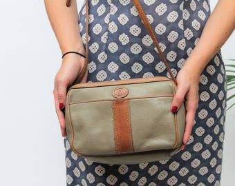 1980s Liz Claiborne Tan & Taupe Shoulder Bag