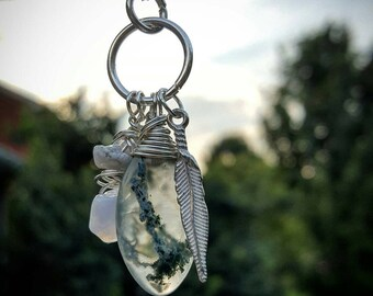 Moss Agate & Blue Chalcedony Handmade Wire Wrapped Pendant Necklace with Feather Charm
