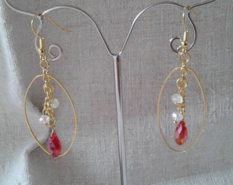 oval earrings red and white