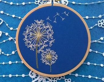 "Embroidery KIT - Embroidery pattern - embroidery hoop art - ""dandelion"" - Traditional embroidery kit"