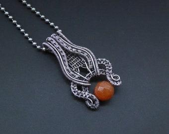 Aventurine Pendant, Wire Wrapped Pendant, Gemstone Jewelry, Autumn Pendant, Silver Pendant, Silver Jewellery, Orange Aventurine,