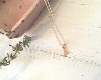 925 silver necklace with pink gold start