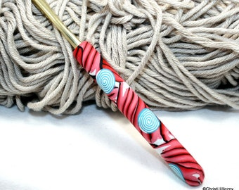 Polymer clay crochet hook,  Boye new size H/8 or 5.00mm, handmade design, ready to ship