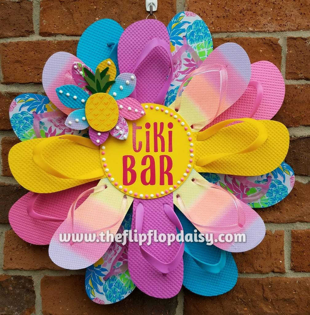 Beautiful Tiki Bar Flip Flop Wreath Door Wall