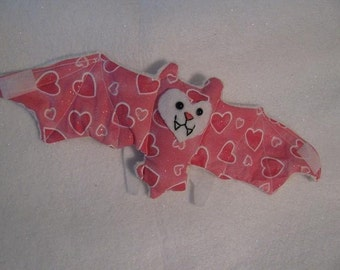 Valentine's Day Bat Cup Sleeve - Light pink hearts and white faux fur