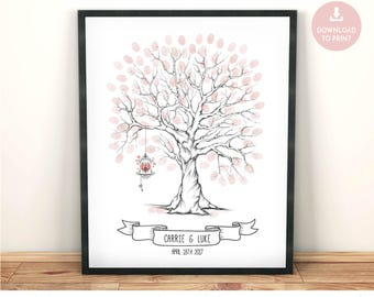 fingerprint tree with bird cage, wedding guest book alternative, wedding tree, guestbook idea, Wedding Tree, fingerprint tree, wedding book