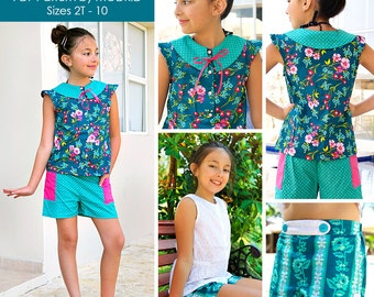 Zoey Summer Ensemble PDF Downloadable Pattern by MODKID... sizes 2T to 10 Girls included - Instant Download
