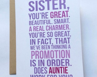 New Aunt Card / First Time Aunt / Baby Announcement / Family Baby Announcement / Pregnancy Reveal Card