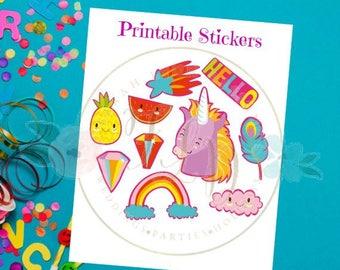 Unicorn Birthday Stickers, Unicorn Birthday Favors, Instant Downloads, Unicorn Stickers, Birthday Party Printables, Unicorn Sticker Set