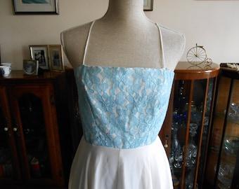 Vintage Retro 1970s Pale Blue & White Lace Detail Maxi Prom Bridesmaid Wedding Dress By Donna London UK Size 12 14 16 Check measurements :)