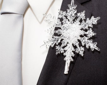 Winter Wedding Boutonniere - Crystal Snowflake Boutonniere - Grooms Boutonniere for a  Winter Wonderland Wedding - Christmas Wedding