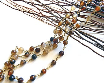 Chain Rosary Golden Agate beads