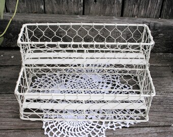 White Wire Storage Organizer / Spice Rack / Cottage Chic / Shabby Chic / Rustic / Country / Boho