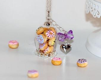 Donut jar Necklace - Cookie Jar Pendant - Bottle  Necklace - Miniature Food Jewelry - Food Necklace - Doughnuts in a jar Pendant