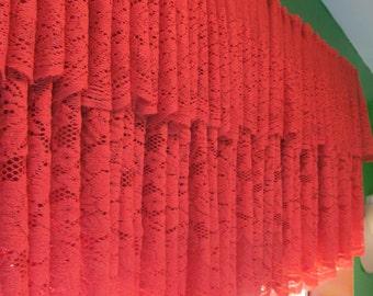 Double burnt orange lace valance