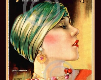 Art Deco Hollywood Print, Classic Icon, Louise Fazenda, silent screen actress, turban hat, deco jewelry, 1925, Giclee Fine Art Print, 11x14