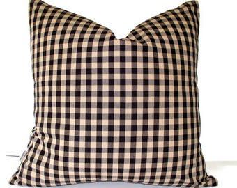 Black Tan Check Pillow Cover, Ballard Designs Black Cream Black Farmhouse Pillow Black Check French Country