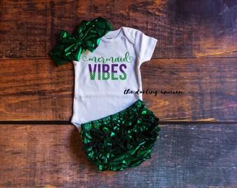 Mermaid Vibes infant girl bodysuit, baby girl bodysuit, baby girl outfit, infant outfit, mermaid outfit, mermaid bloomers, mermaid baby